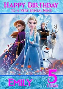 Personalised Birthday Card Frozen any name/age/relation