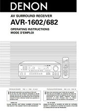 Denon AVR-1602 AVR-682 Receiver Owners Manual