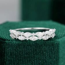 Diamond Half Eternity Band 14K White Gold Certified 2.00 Ct Excellent Marquise