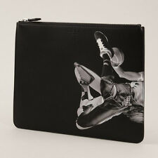 GIVENCHY Basketball Player Print Large Leather Pouch Clutch Bag in Black