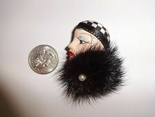 Flapper Girl with Real Fur Pin Brooch