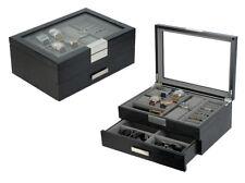 DecoreBay Modern Black wood Cufflink Case Ring and Jewelry Box
