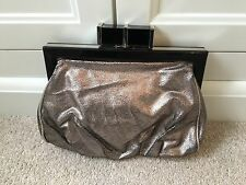Topshop evening clutch bag pewter silver colour Brand New