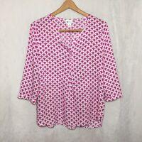 Stylus OverSize Medium M Blouse Pink & White Rayon 3/4 Sleeve Popover Top
