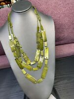 Vintage Bohemian Three strand seed bead and gold Green Tone bead necklace 28""