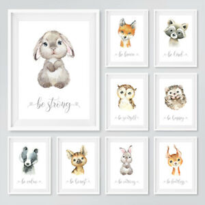 Woodland Baby Animal Nursery Prints Childrens Bedroom Wall Art Pictures Decor