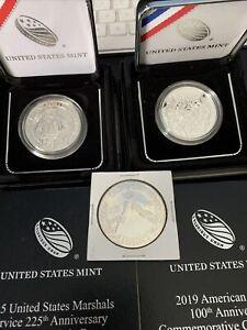 2015 US Marshals, 2019 American Legion & 1988 Olympiad PROOF Silver Dollar Coins