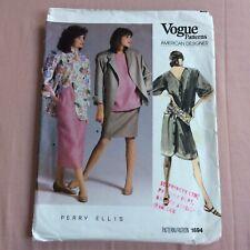 More details for vintage 1986 vogue patterns perry ellis # 1694 sewing pattern size 12