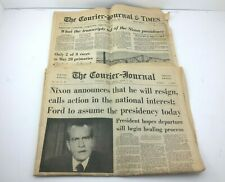 VTG Richard Nixon Courier Journal Newspaper 1974 May 5th & August 9th Resigns