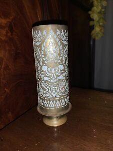 Milk Glass And Brass/Bronze Buddist Candlestick Lamp