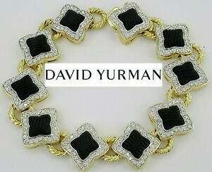 "David Yurman Quatrefoil 18K Yellow Gold Onyx & 2.5 ct Round Diamond Bracelet 7"""