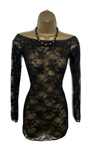 SEXY LACE TUNIC MINI DRESS by ANN SUMMERS S/M UK 8-10-12 VGC BLACK SEE THROUGH