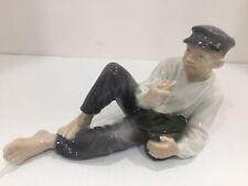 Vintage Royal Copenhagen Boy Eating Lunch Figurine #865