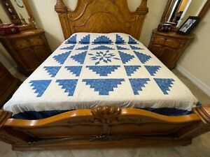 King Size Machine pieced Log Cabin Star  patchwork quilt top #x-26 made in USA