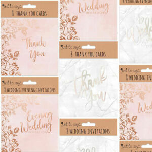 8 Pack Wedding Cards - Pink Or White Marble Thank You Invitation Evening Notes