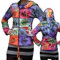 Women Tyedye Patch Hippie Hoodie Rainbow Patchwork Boho Long Pixie Hooded Jacket
