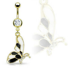 Gold Butterfly Acrylic Belly Ring Navel Naval (w695)