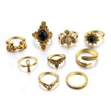 9pcs Gold Silver Boho Lady Crystal Elephant Feather Cross Crown Finger Ring Set Gold