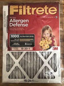 3M 15x20x1 Filtrete MICRO Allergen Defense 1000 Filter 3M 2 PACK