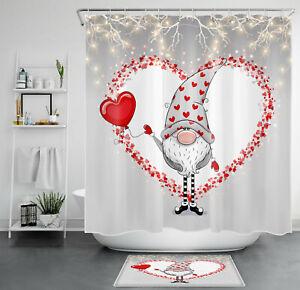 Valentine's Day Grey Cute Gnome Red Love Heart Shower Curtain Set Bathroom Decor