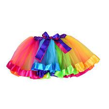CHILDS NEON RAINBOW TUTU SKIRT BOW FANCY DRESS PARTY PETTICOAT DRESS UK SELLER