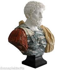 Busto di Imperatore Romano Marmo Policromo Marco Aurelio Classic Marble Scupture