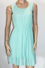 Unbranded Designer Green Pleated Chiffon Sleeveless Day Dress Size S BNWT #TD45