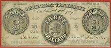 BANK OF EAST TENNESSEE, JONESBORO TENNESSEE 1.1.1855 $3.00