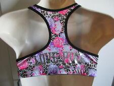 VICTORIA'S SECRET ~LOVE PINK~YOGA RACER BACK BRA MEDIUM Black Pink Leopard Rose