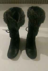 North Face  Faux Fur Lined Leather/Textile Lace-Up Snow Boot