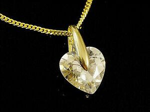 333 Gold  Herz Anhänger 15,5 mm Größe mit Zirkonia Kristall Herz
