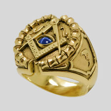 Freemason 10K Yellow Gold Sapphire Masonic Ring Size 12 Handmade by UNIQABLE