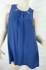 CUE blue key hole sleeveless blouse top size 12 BNWT