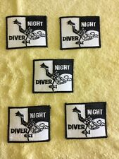 NIGHT DIVER SCUBA PATCHES - 5 TOTAL - AS PICTURED