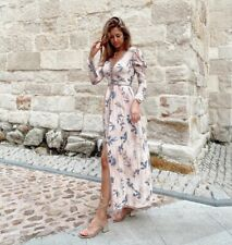 Zara campaña Edición Limitada Maxi Vestido Plisado Impreso Rosa Tamaño S