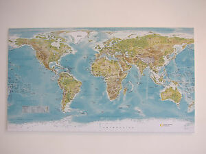Extra Large World Map - with Self Assembly Frame 50 X 28 inch