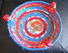 HANDMADE COILED FABRIC MULTI COLOR  BASKET ROPE QUILT FOR BREAD+ GIFT+ MUSHROOMS
