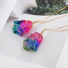 Natural Stone Colorful Crystal Pendant Transparent Multi - Color Chain Necklace