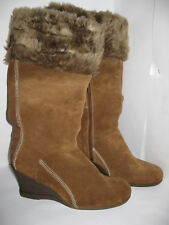 Cherokee Womens Brown Suede Wedge Knee High Warm Boots Size UK 8 EU 42