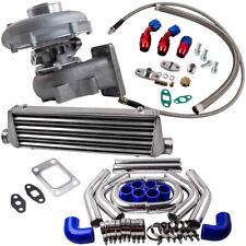 T3/T4 T04E Universal Turbo 0.63 A/R W/Oil Line+Intercooler +Piping Pipe Kits
