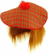 Tartan Hat Ginger Hair Wig Scottish Scots Fun Fancy Dress Stag Party X 8