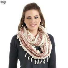 Beige and Coral Navajo Pattern Infinity Scarf