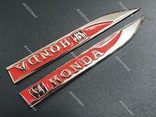 2PCS HONDA Car Trunk Side Wing Fender Metal Emblem Badge Sticker Decal RED