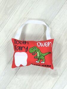 Personalised Tooth Fairy Pillow Dinosaur Pocket Cushion Hand Made Birthday