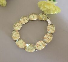 Beautiful Yellow Ice Fused Dichroic Art Glass Jewelry Link Bracelet 7 1/4""