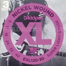 3 Set di D'ADDARIO EXL120-3D Reggisella Chitarra elettrica stringhe.009.042