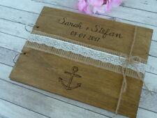 Nautical Wedding Guest Book. Beach Wedding Album, Anchor Wooden Guest Book.