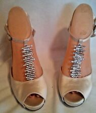 CALVIN KLEIN IVORY SATIN WITH BLING  OPEN TOE PUMPS SIZE 9M