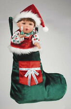 "MARIE OSMOND 2006 ""MERRY KISSES STOCKING DOLL BOY"" 12-INCH PORCELAIN DOLL"