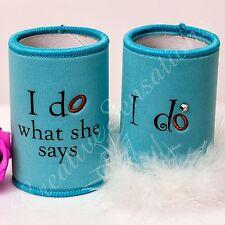 Deluxe Gift Packed Stubby Holder I Do What She Says Bride & Groom Wedding Gift